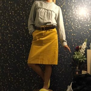 J. Crew Mustard over the knee skirt 💛